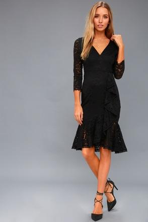 Make Time For Me Black Lace Midi Dress 1