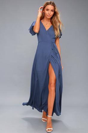 Heart Of Marigold Denim Blue Wrap Maxi Skirt 1
