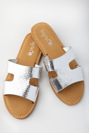 Kelsie Silver Slide Sandals 3
