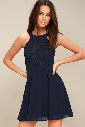 Lovers Game Navy Blue Lace Skater Dress 3