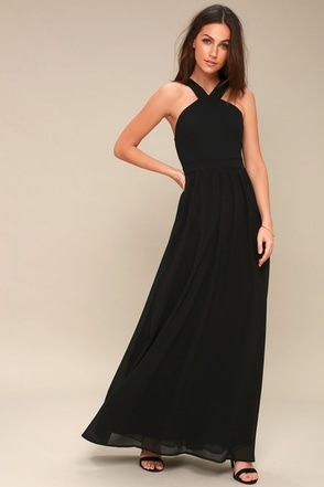 Air Of Romance Black Maxi Dress 1