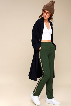 Private Jet Green Striped Track Pants 1