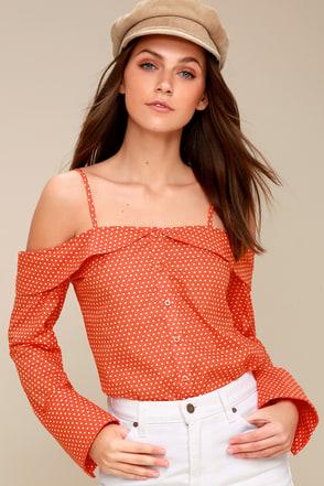 Elena Coral Orange Polka Dot Off-the-Shoulder Top 3