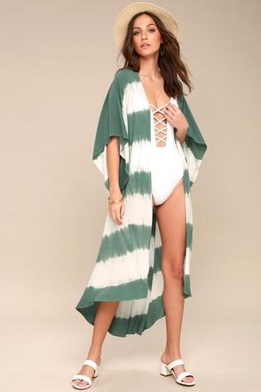 Coastland Teal Green Tie-Dye Kimono 2