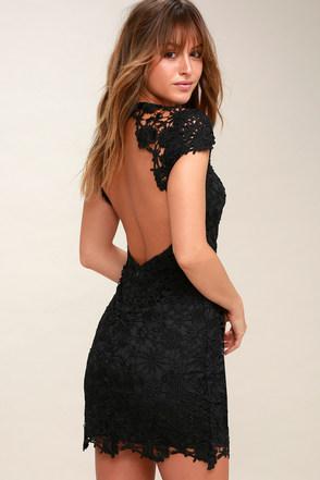 chic black lace dress backless lace dress open back dress