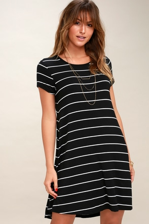 Pencil Black and White Striped Shirt Dress 2