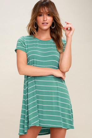 Pencil Teal Green and White Striped Shirt Dress 2