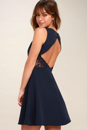 Flirt And Flair Navy Blue Backless Skater Dress 1