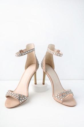 Starshine Dark Nude Rhinestone Ankle Strap Heels 2