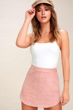 Annette Blush Pink Suede Mini Skirt 2