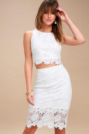 chic white twopiece dress lace twopiece dress
