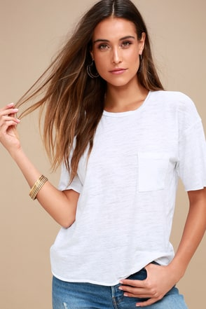 Project Social T Tomboy Pocket Tee Burnout Tee White Tee