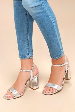Arya Silver High Heel Sandals 1
