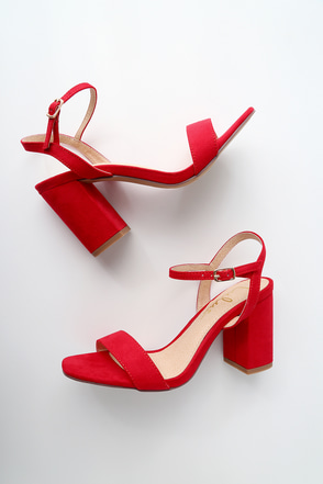 Arya Red Suede High Heel Sandals 2