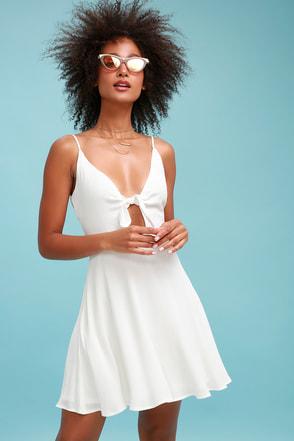 cute tiefront skater dress white skater dress