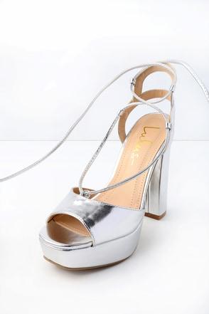Saucy Silver Lace-Up Platform Heels 1
