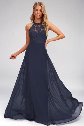 Elegant Maxi Dress Lace Maxi Dress Navy Blue Maxi Dress