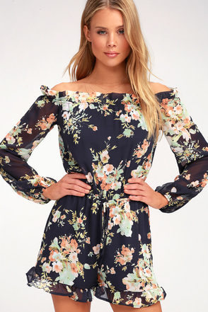 How's It Growing? Navy Blue Floral Print Off-the-Shoulder Romper 1