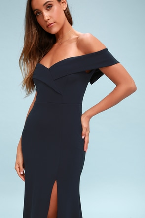 Song of Love Navy Blue Off-the-Shoulder Maxi Dress 4