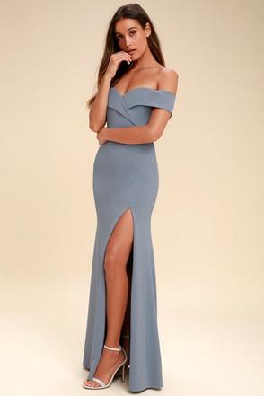 Song of Love Light Blue Off-the-Shoulder Maxi Dress 2