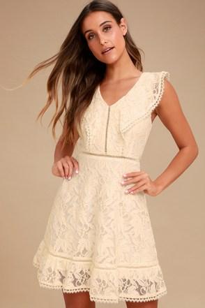 Long sleeve mini dress white lace