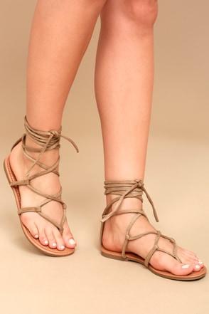 Lulus Positano Tan Leather Lace-Up Flat Sandal Heels - Lulus VxCBf