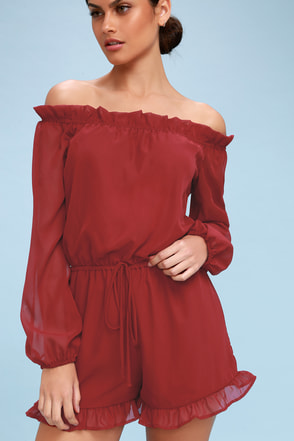 How's It Growing? Wine Red Off-the-Shoulder Romper 5