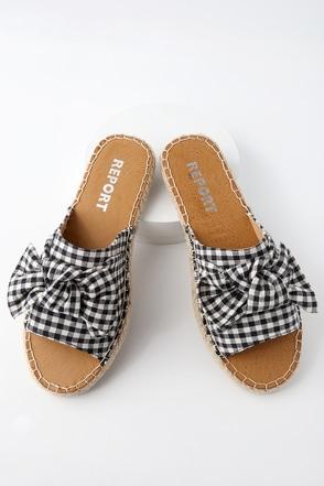 Camrin Black and White Gingham Slide Sandals 4