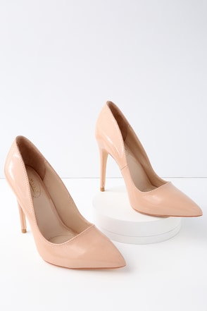 Verna Nude Patent Pointed Pumps 1