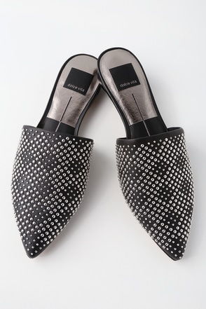 Elvah Black Leather Studded Pointed Toe Mules 1