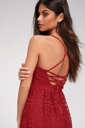 Real Life Dream Berry Red Lace Midi Dress 8