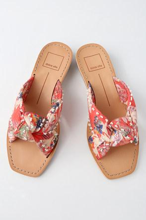 Haviva Red Multi Knotted Slide Sandals 1