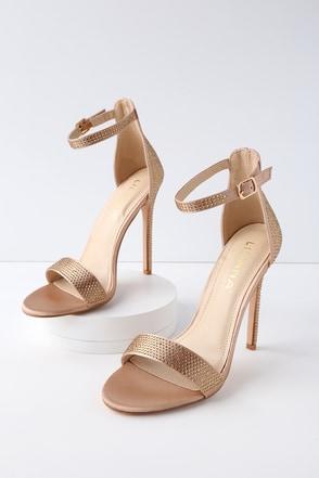 Balceta Champagne Rhinestone Ankle Strap Heels 1