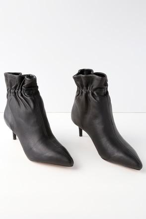 Rain Black Leather Ankle Booties 1