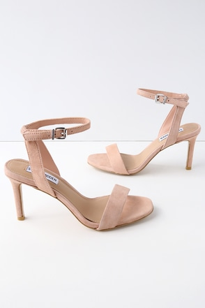 Faith Blush Suede Ankle Strap Heels 1