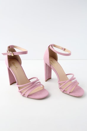Cole Ash Lilac Suede Ankle Strap Heels 1