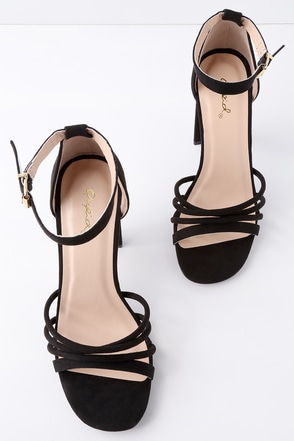 Cole Black Suede Ankle Strap Heels 1