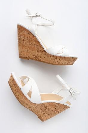 Nixie White Wedge Sandals 2