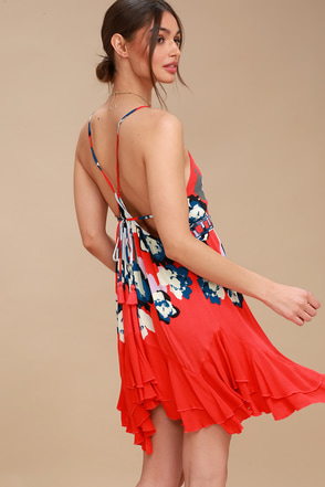 Sweet Lucy Coral Red Print Slip 3