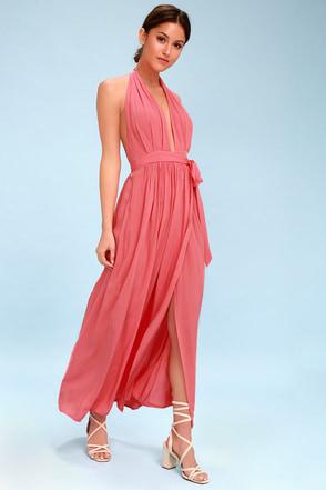 Gentil Magical Movement Coral Pink Wrap Maxi Dress 1