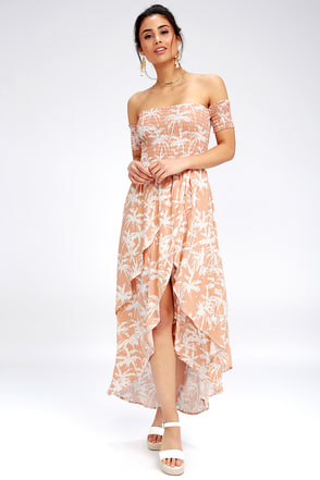 Barefoot Nude Tropical Print Off The Shoulder Midi Dress 1