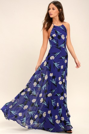 Pink Blue Green Tropical Print Evening Gowns