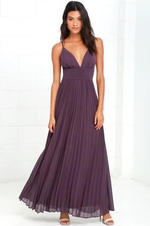 Stunning Dusty Purple Dress Pleated Maxi Dress Purple