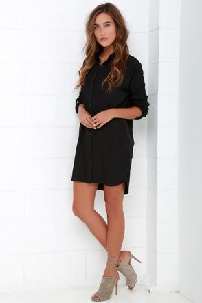 Black Dress Shirt Dress Long Sleeve Dress Shift