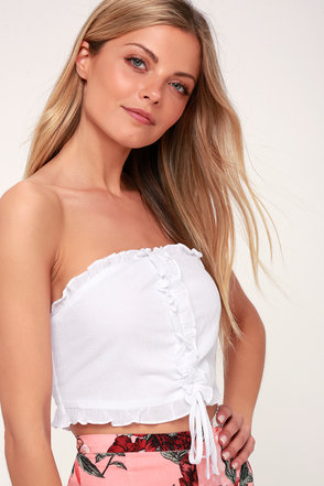 ab205393b4086 Lay in the Sun White Ruffled Strapless Cropped Top 1