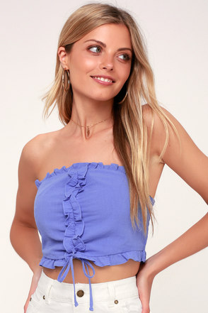 b2708d741f346 Lay in the Sun Periwinkle Blue Ruffled Strapless Cropped Top 3