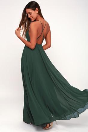 Beautiful Dark Green Dress Maxi Dress Backless Maxi Dress