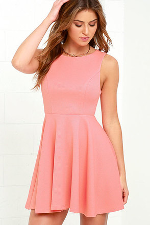 Gal About Town Coral Pink Skater Dress at Lulus.com!