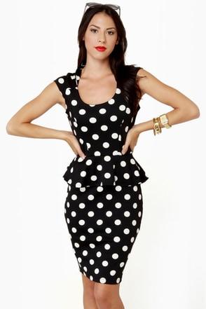 Adorable Polka Dot Dress Midi Dress Black Dress 71 00