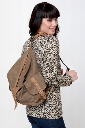 Burt Back-a-pack Brown Canvas Backpack